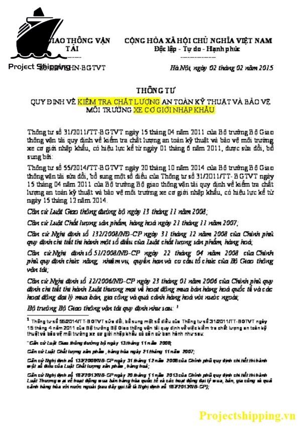 Thông tư 31/ /2011/TT-BGTVT về kiểm tra chất lượng của xe cơ giới nhập khẩu